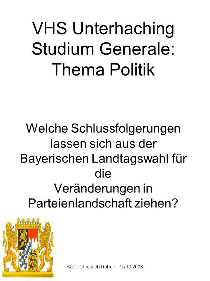 VHS Unterhaching Studium Generale: Thema Politik Welche Schlussfolgerungen lassen sich aus der Bayerischen Landtagswahl für die Veränderungen in Parte