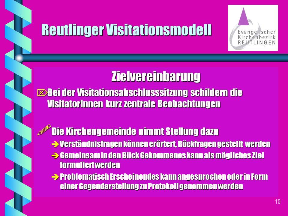 9 Reutlinger Visitationsmodell Zielvereinbarung J J Der KGR berät mit den MitarbeiterInnen den Visitationsbericht J J Die verschiedenen Beobachtungen aus dem Visitationsbericht der VisitatorInnen werden zusammengetragen.