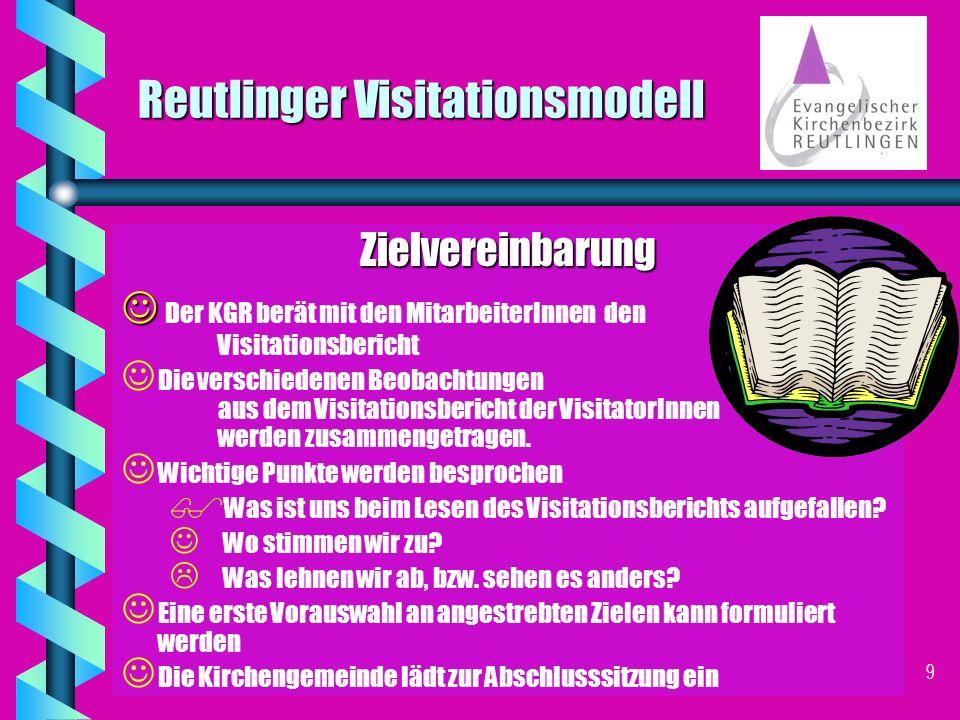 8 Reutlinger Visitationsmodell Beratung - Die Visitationsbereiche Pfarramtlicher Dienst Schule und Gemeindepädagogik Wahlbereich Ehrenamt Hauptamtl.