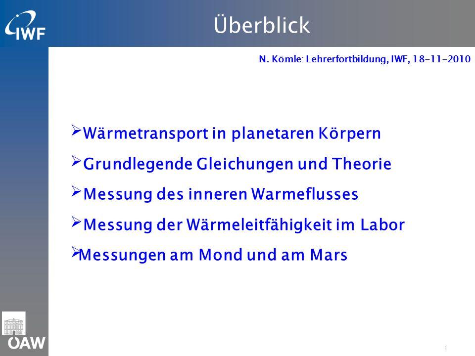1 Überblick N. Kömle: Lehrerfortbildung, IWF, 18-11-2010 Wärmetransport in planetaren Körpern Grundlegende Gleichungen und Theorie Messung des inneren