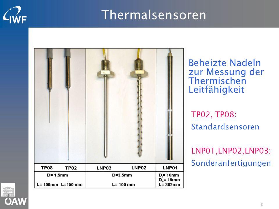 5 Thermalsensoren Beheizte Nadeln zur Messung der Thermischen Leitfähigkeit TP02, TP08: Standardsensoren LNP01,LNP02,LNP03: Sonderanfertigungen