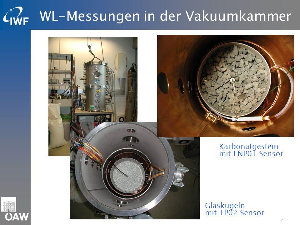 7 WL-Messungen in der Vakuumkammer Glaskugeln mit TP02 Sensor Karbonatgestein mit LNP01 Sensor
