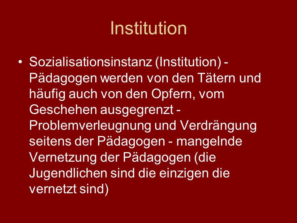 Institution Sozialisationsinstanz (Institution) - Pädagogen werden von den Tätern und häufig auch von den Opfern, vom Geschehen ausgegrenzt - Problemverleugnung und Verdrängung seitens der Pädagogen - mangelnde Vernetzung der Pädagogen (die Jugendlichen sind die einzigen die vernetzt sind)