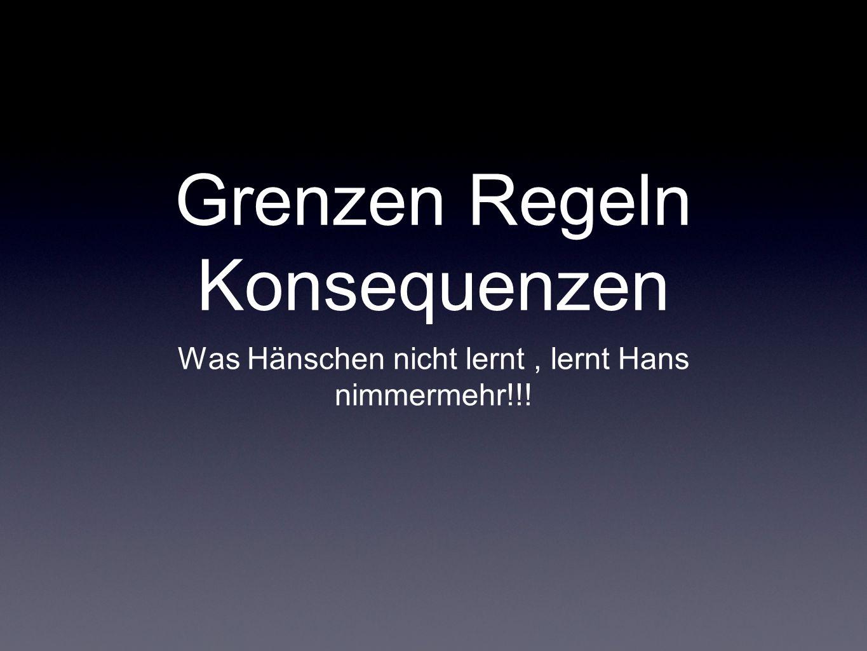 Grenzen Regeln Konsequenzen Was Hänschen nicht lernt, lernt Hans nimmermehr!!!