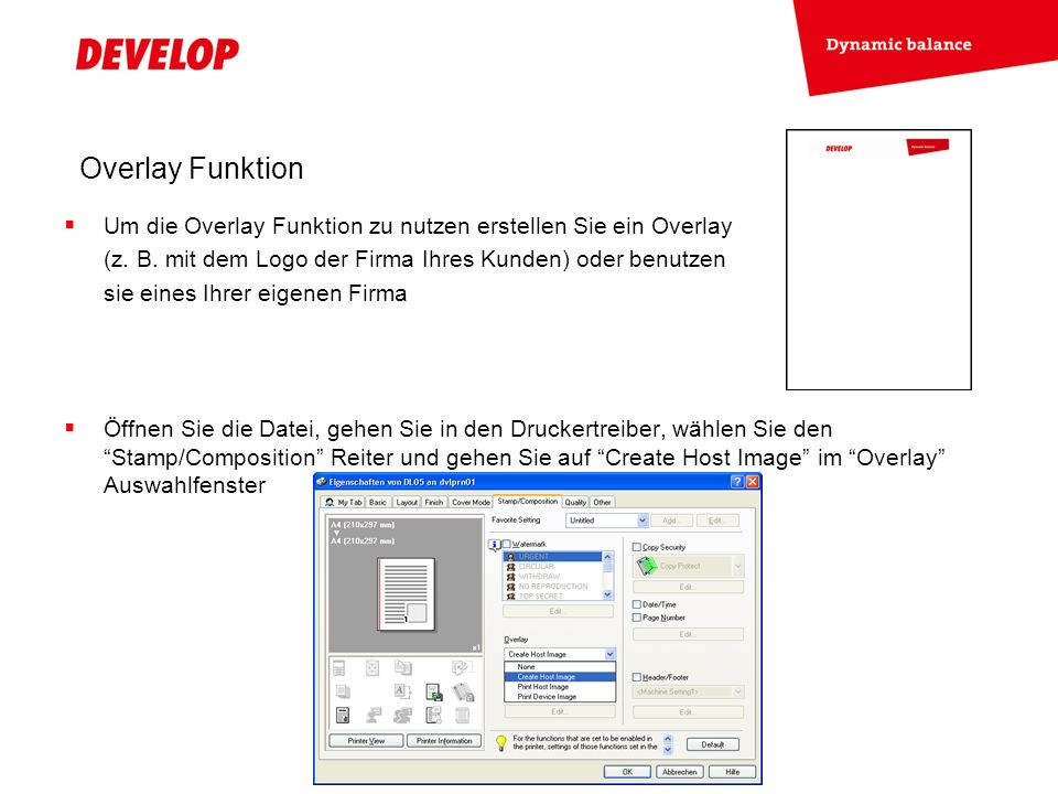 Overlay Funktion Drücken Sie OK, starten Sie den Druckauftrag und geben Sie einen Namen für Ihre Overlaydatei ein Öffnen Sie nun eine Serienbrief-Datei (z.