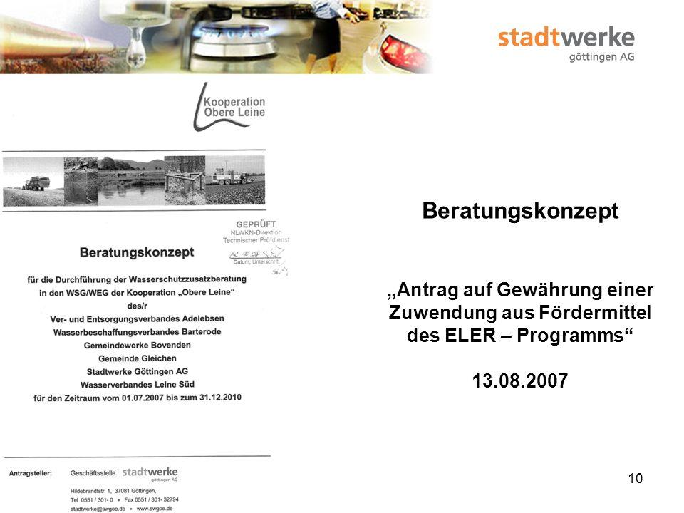 11 Beratungskonzept Zuwendungsbescheid für EU-Zwecke (Projektförderung) 04.10.2007 Bewilligungszeitraum: 08.10.2007 – 31.12.2010