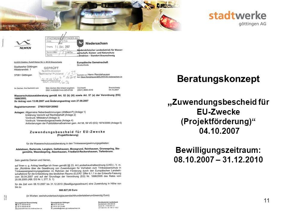 12 Vertrag über die Durchführung der Wasserschutzzusatzberatung 28.11.2007