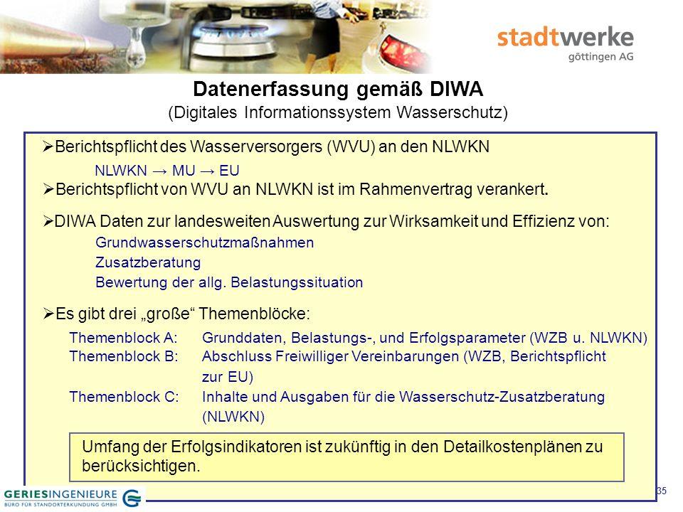 36 Datenerfassung gemäß DIWA (Digitales Informationssystem Wasserschutz)