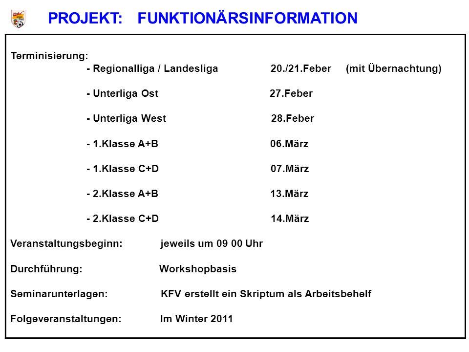 Terminisierung: - Regionalliga / Landesliga 20./21.Feber (mit Übernachtung) - Unterliga Ost 27.Feber - Unterliga West 28.Feber - 1.Klasse A+B 06.März