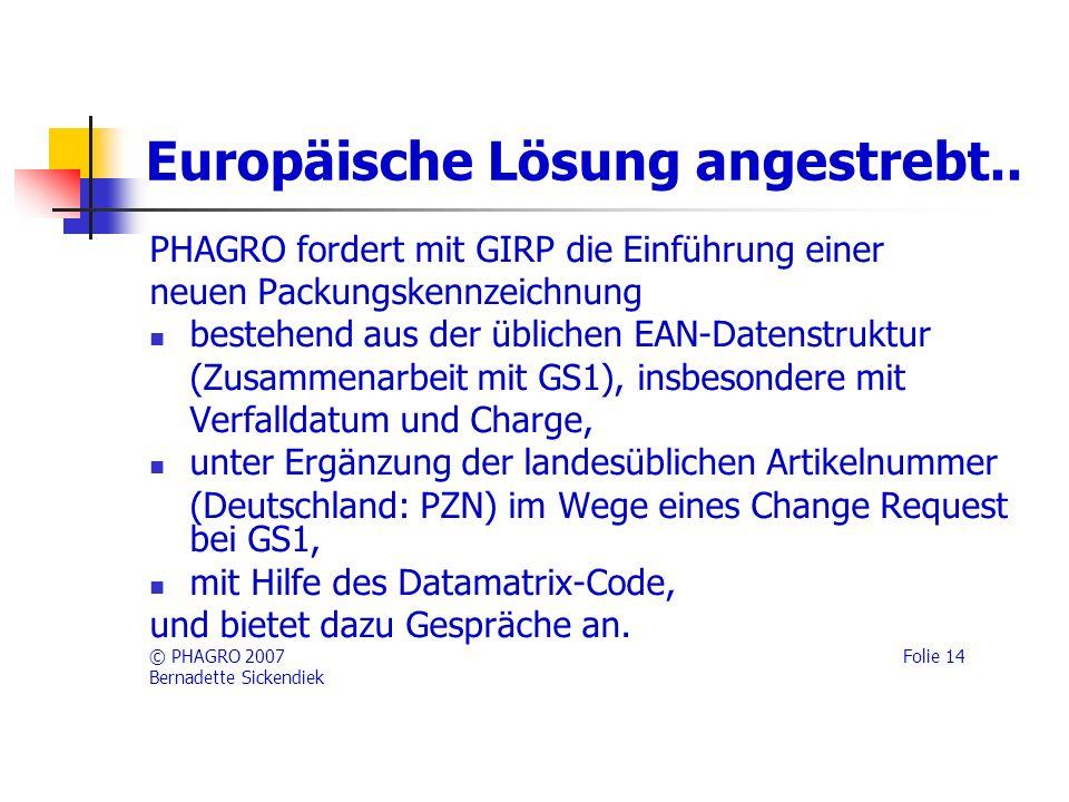 Europäische Lösung angestrebt..
