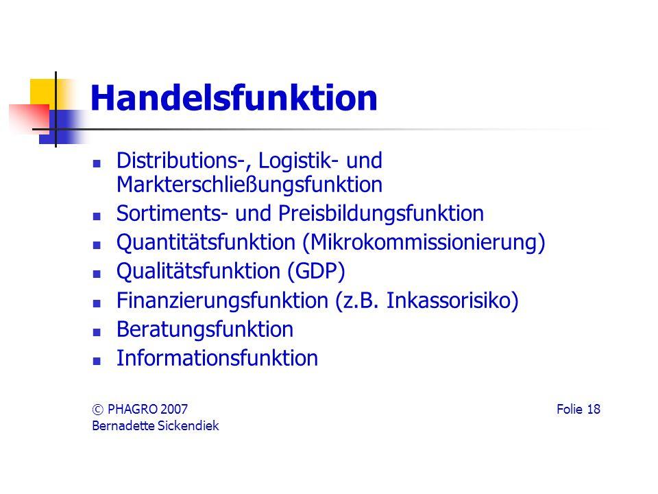 Handelsfunktion Distributions-, Logistik- und Markterschließungsfunktion Sortiments- und Preisbildungsfunktion Quantitätsfunktion (Mikrokommissionierung) Qualitätsfunktion (GDP) Finanzierungsfunktion (z.B.