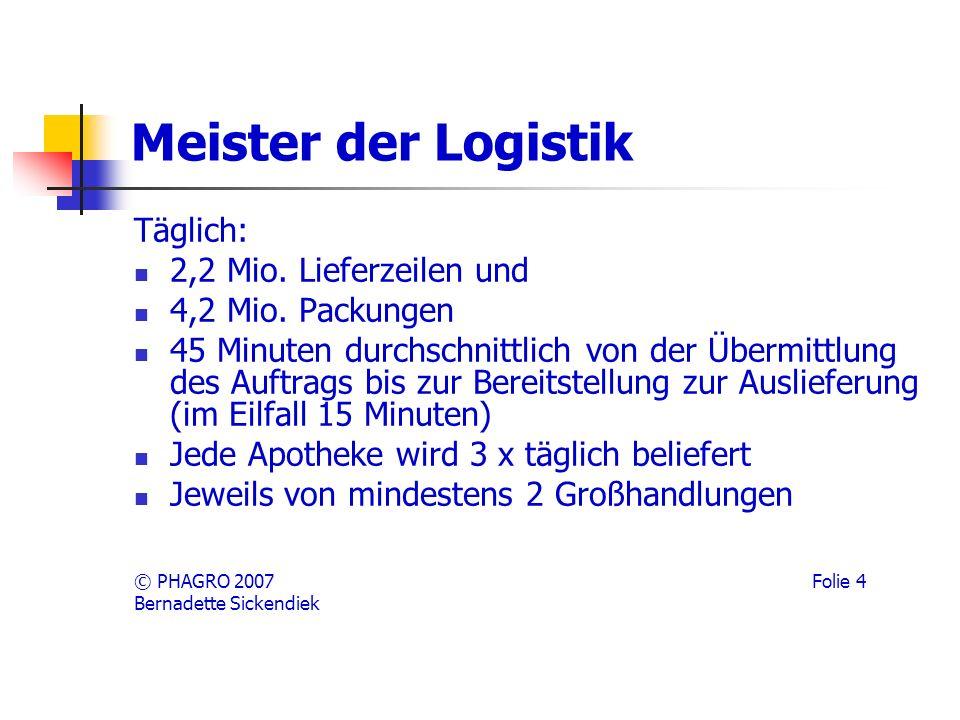 Meister der Logistik Täglich: 2,2 Mio.Lieferzeilen und 4,2 Mio.