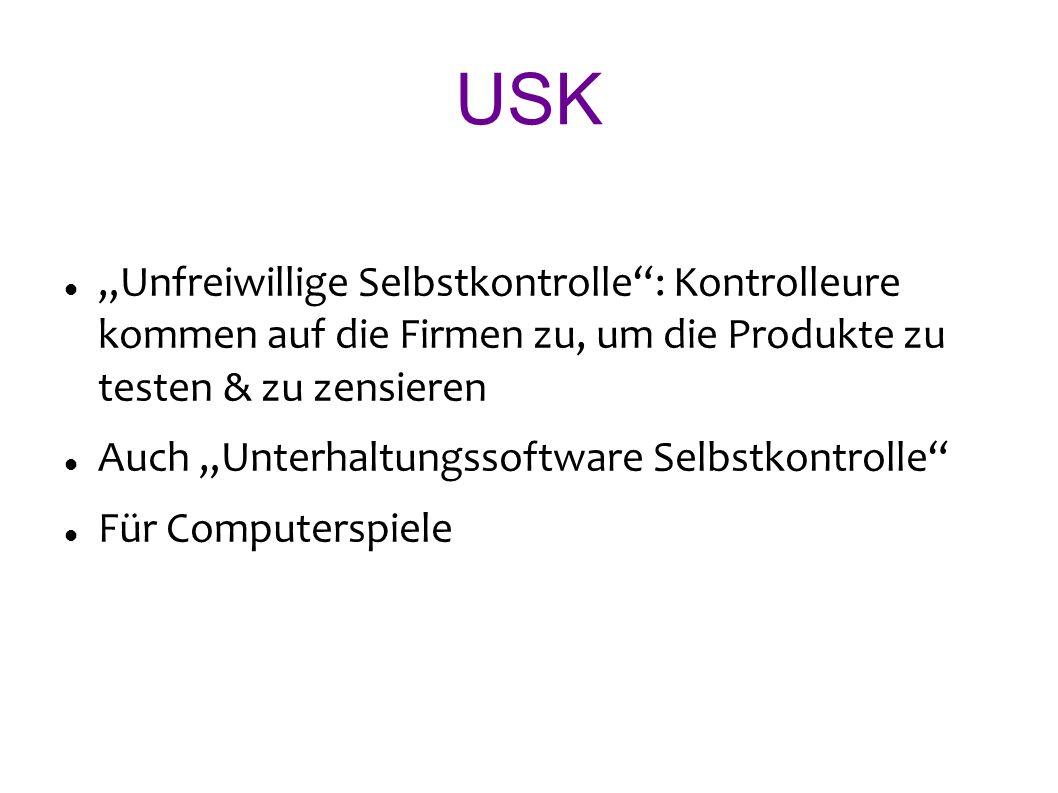 USK Unfreiwillige Selbstkontrolle: Kontrolleure kommen auf die Firmen zu, um die Produkte zu testen & zu zensieren Auch Unterhaltungssoftware Selbstkontrolle Für Computerspiele