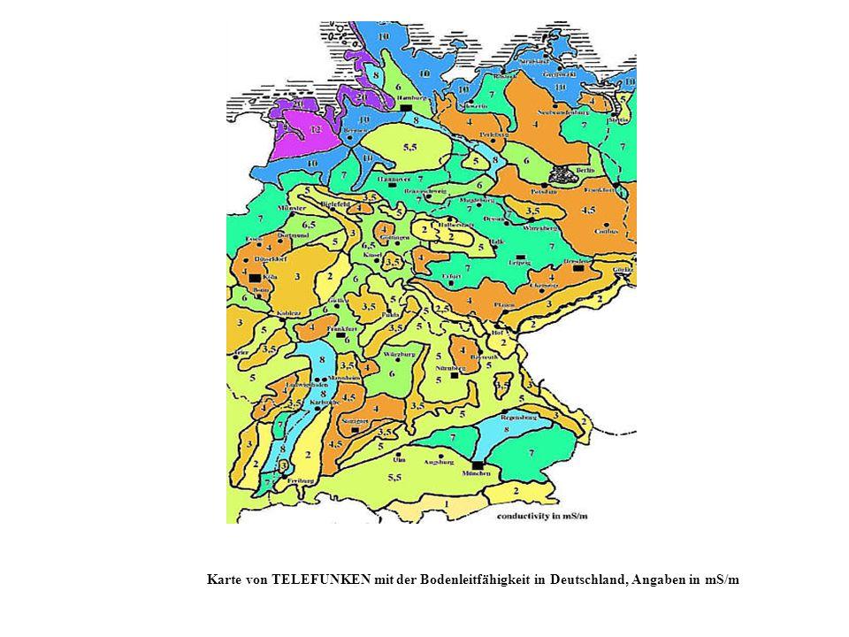 Karte von TELEFUNKEN mit der Bodenleitfähigkeit in Deutschland, Angaben in mS/m