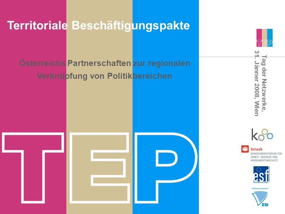 Tag der Netzwerke, 31. Jänner 2008, Wien Territoriale Beschäftigungspakte Österreichs Partnerschaften zur regionalen Verknüpfung von Politikbereichen