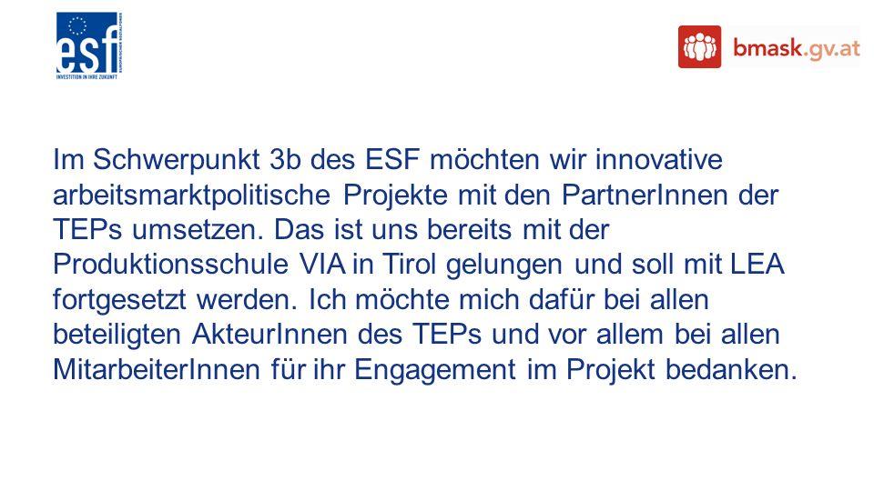 Im Schwerpunkt 3b des ESF möchten wir innovative arbeitsmarktpolitische Projekte mit den PartnerInnen der TEPs umsetzen. Das ist uns bereits mit der P
