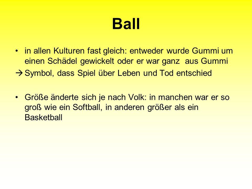 Ball in allen Kulturen fast gleich: entweder wurde Gummi um einen Schädel gewickelt oder er war ganz aus Gummi Symbol, dass Spiel über Leben und Tod e