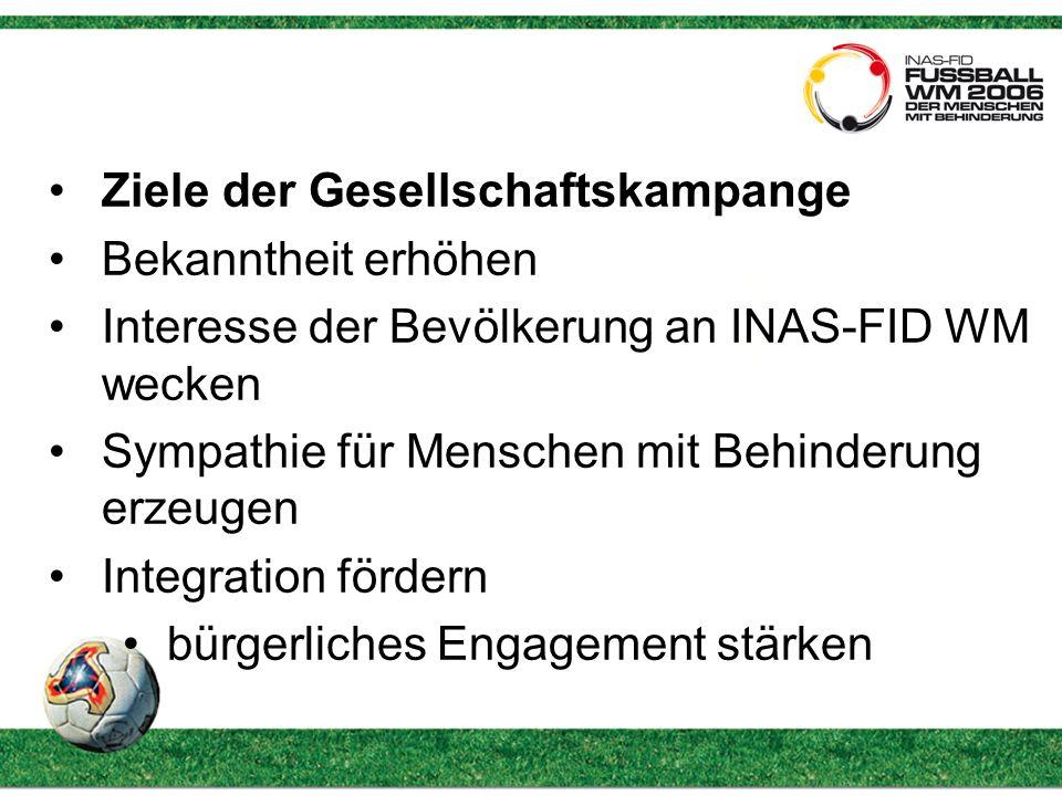 Ziele der Gesellschaftskampange Bekanntheit erhöhen Interesse der Bevölkerung an INAS-FID WM wecken Sympathie für Menschen mit Behinderung erzeugen Integration fördern bürgerliches Engagement stärken