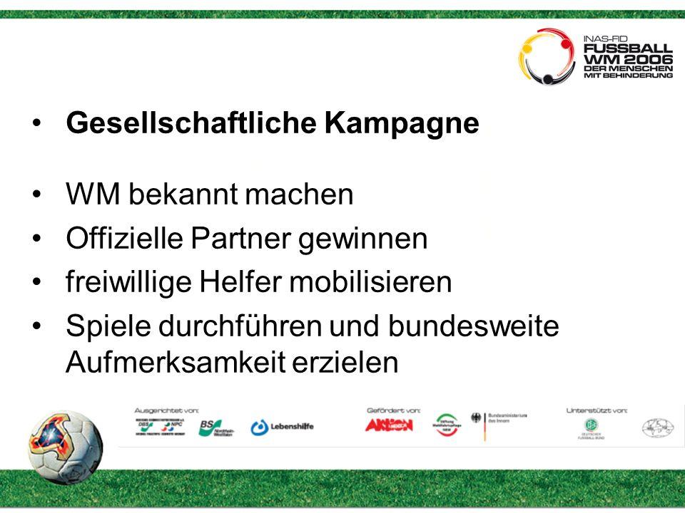 Gesellschaftliche Kampagne WM bekannt machen Offizielle Partner gewinnen freiwillige Helfer mobilisieren Spiele durchführen und bundesweite Aufmerksamkeit erzielen