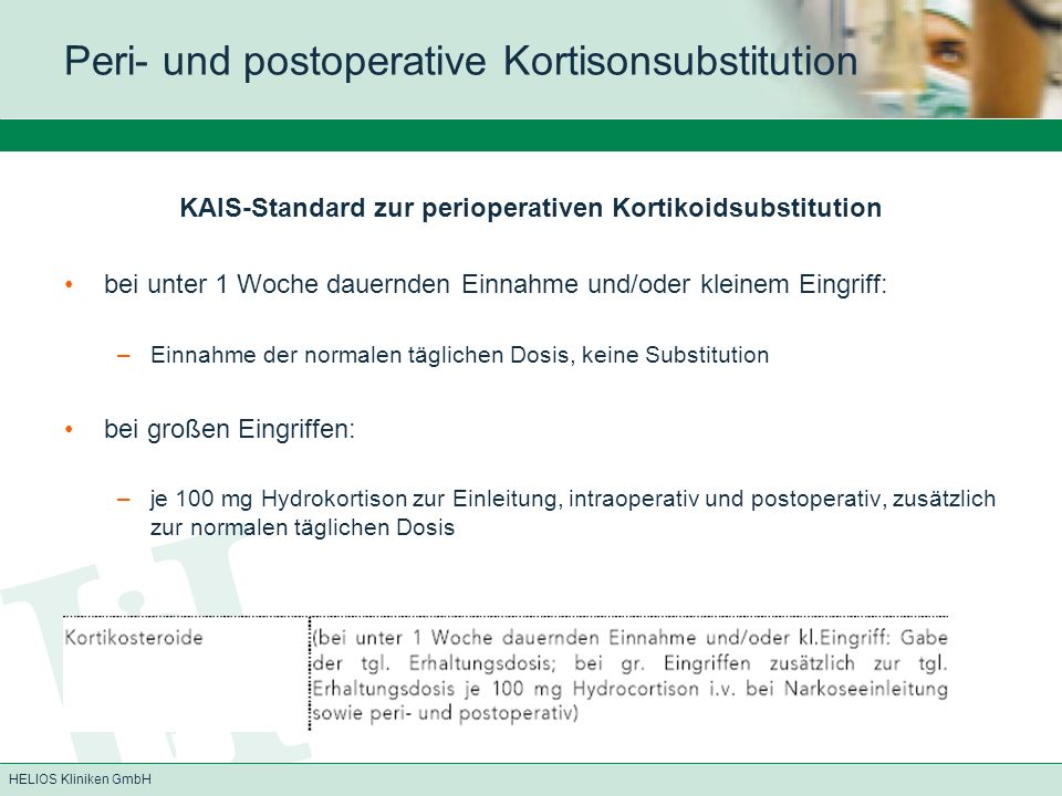 HELIOS Kliniken GmbH KAIS-Standard zur perioperativen Kortikoidsubstitution bei unter 1 Woche dauernden Einnahme und/oder kleinem Eingriff: –Einnahme