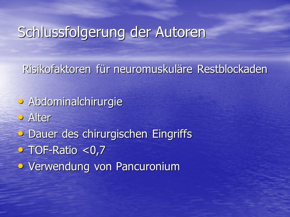 Schlussfolgerung der Autoren Risikofaktoren für neuromuskuläre Restblockaden Abdominalchirurgie Abdominalchirurgie Alter Alter Dauer des chirurgischen