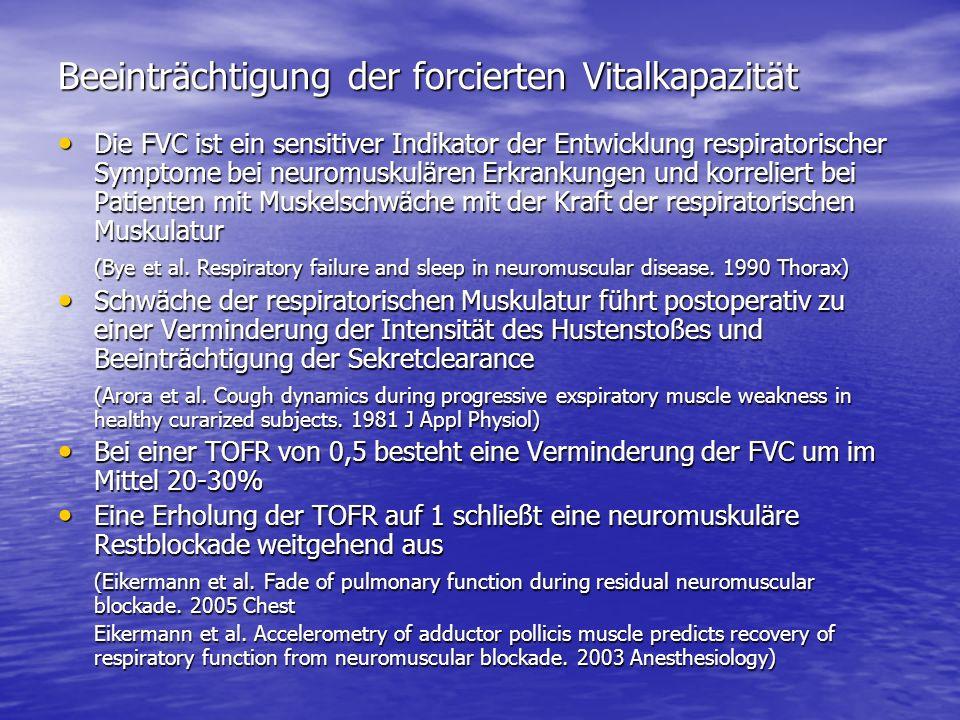 Beeinträchtigung der forcierten Vitalkapazität Die FVC ist ein sensitiver Indikator der Entwicklung respiratorischer Symptome bei neuromuskulären Erkr