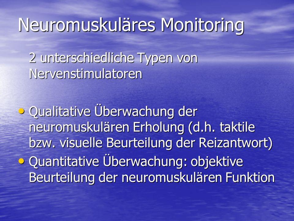 Neuromuskuläres Monitoring Qualitatives neuromuskuläres Monitoring Ab einer TOF-Ratio von 0,4-0,5 werden bei visueller und/oder taktiler Beurteilung des TOF alle 4 Reizantworten mit gleicher Intensität wahrgenommen Ab einer TOF-Ratio von 0,4-0,5 werden bei visueller und/oder taktiler Beurteilung des TOF alle 4 Reizantworten mit gleicher Intensität wahrgenommen Durch die DBS lässt sich diese Grenze Durch die DBS lässt sich diese Grenze bis auf 0,6 verschieben Fazit Qualitative Tests sind nicht geeignet, eine ausreichende Erholung der respiratorischen Funktion zu erkennen.