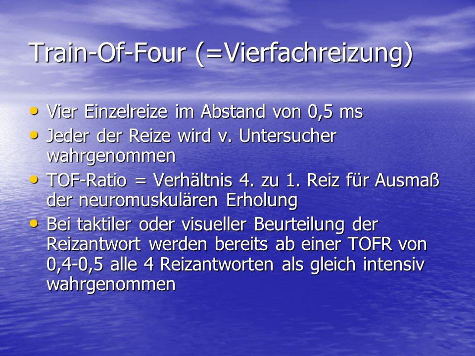 Train-Of-Four (=Vierfachreizung) Vier Einzelreize im Abstand von 0,5 ms Vier Einzelreize im Abstand von 0,5 ms Jeder der Reize wird v. Untersucher wah