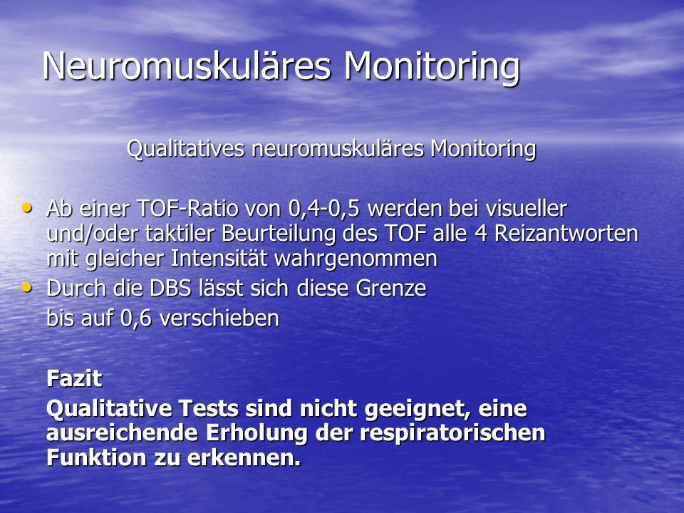 Neuromuskuläres Monitoring Qualitatives neuromuskuläres Monitoring Ab einer TOF-Ratio von 0,4-0,5 werden bei visueller und/oder taktiler Beurteilung d