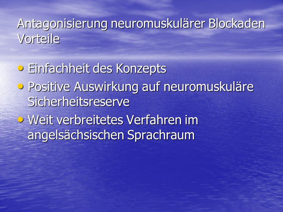 Antagonisierung neuromuskulärer Blockaden Vorteile Einfachheit des Konzepts Einfachheit des Konzepts Positive Auswirkung auf neuromuskuläre Sicherheit