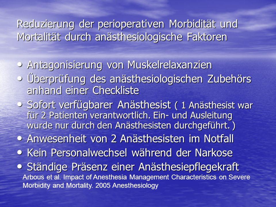 Reduzierung der perioperativen Morbidität und Mortalität durch anästhesiologische Faktoren Antagonisierung von Muskelrelaxanzien Antagonisierung von M