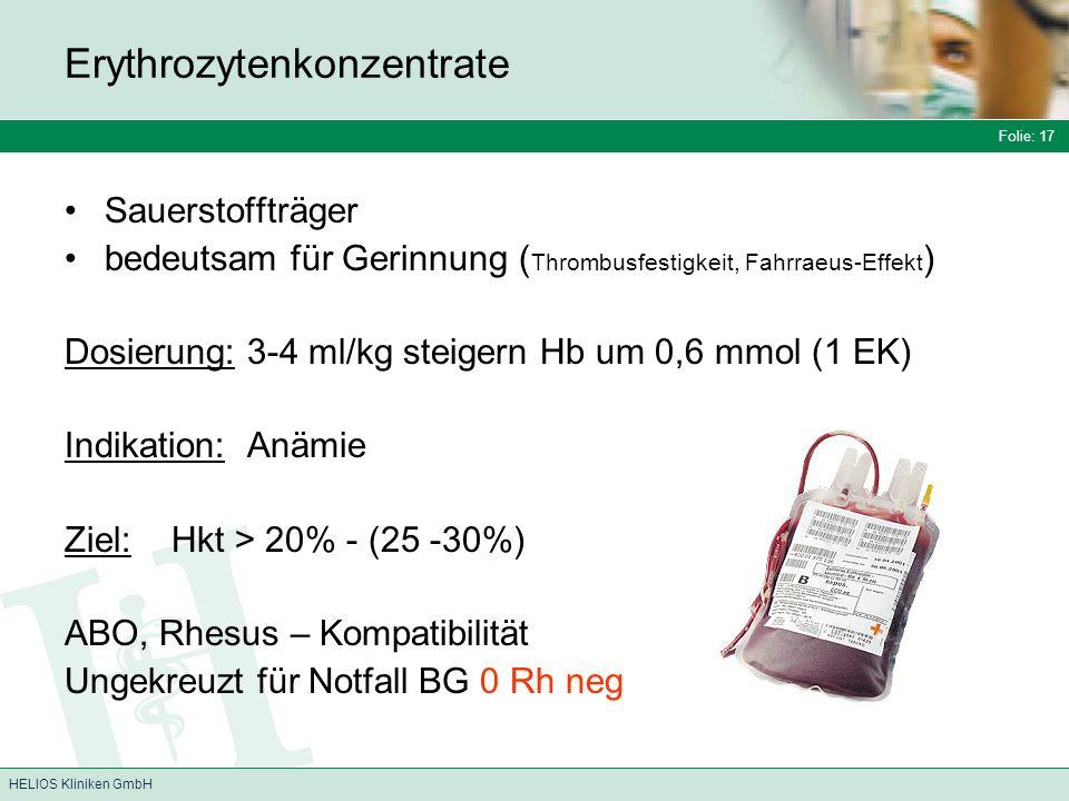 Folie: 17 HELIOS Kliniken GmbH Erythrozytenkonzentrate Sauerstoffträger bedeutsam für Gerinnung ( Thrombusfestigkeit, Fahrraeus-Effekt ) Dosierung: 3-4 ml/kg steigern Hb um 0,6 mmol (1 EK) Indikation: Anämie Ziel:Hkt > 20% - (25 -30%) ABO, Rhesus – Kompatibilität Ungekreuzt für Notfall BG 0 Rh neg
