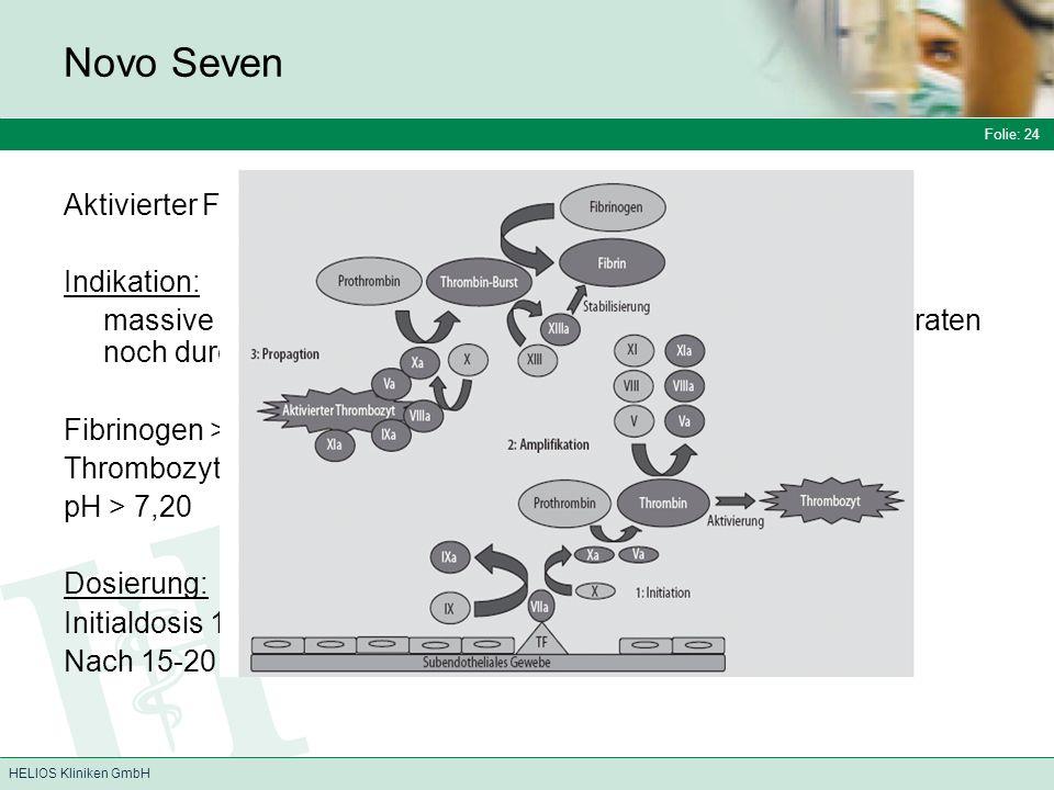 Folie: 24 HELIOS Kliniken GmbH Novo Seven Aktivierter Faktor VII a Indikation: massive Blutung, die weder durch Gabe von Gerinnungspräparaten noch durch chirurgische Maßnahmen zu stillen ist Fibrinogen > 1g/l Thrombozyten > 100 Gpt/l pH > 7,20 Dosierung: Initialdosis 120 µg/kg über 2 -5 Minuten Nach 15-20 Min bei Bedarf Folgedosis 100 µg/kg