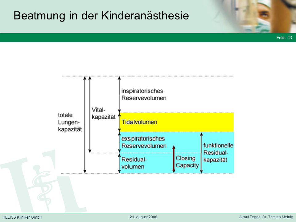 Folie: 13 HELIOS Kliniken GmbH Beatmung in der Kinderanästhesie Folie: 13 21.