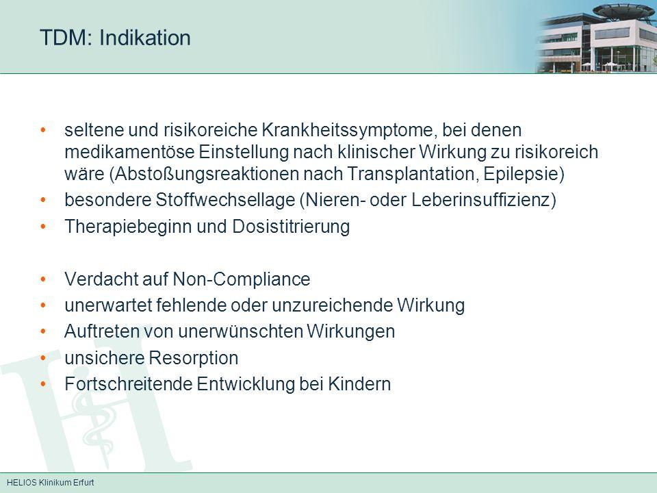 HELIOS Klinikum Erfurt TDM: Valproinsäure (Orfiril) Antiepileptikum Blockade spannungsabhängiger Na + - und Ca ++- Kanäle, Verstärkung der Wirkung von GABA p.o.