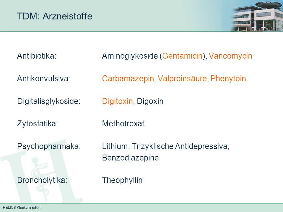 HELIOS Klinikum Erfurt TDM: Arzneistoffe Antibiotika:Aminoglykoside (Gentamicin), Vancomycin Antikonvulsiva:Carbamazepin, Valproinsäure, Phenytoin Digitalisglykoside:Digitoxin, Digoxin Zytostatika:Methotrexat Psychopharmaka:Lithium, Trizyklische Antidepressiva, Benzodiazepine Broncholytika:Theophyllin