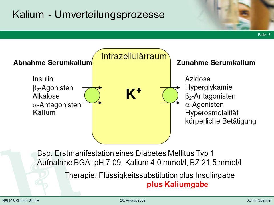 Folie: 3 HELIOS Kliniken GmbH Kalium - Umverteilungsprozesse Folie: 3 20. August 2009 Achim Spenner HELIOS Kliniken GmbH Kalium Bsp: Erstmanifestation