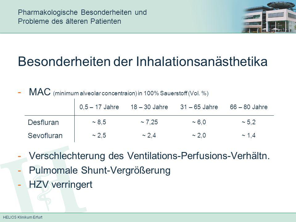 HELIOS Klinikum Erfurt Pharmakologische Besonderheiten und Probleme des älteren Patienten Besonderheiten der Inhalationsanästhetika -MAC (minimum alve