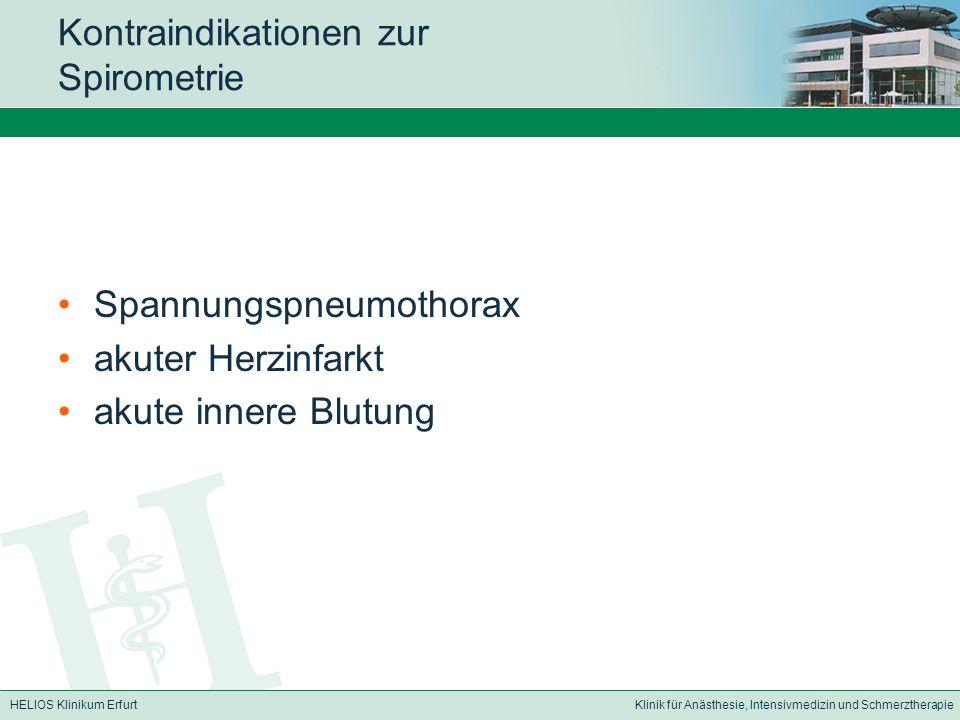 HELIOS Klinikum ErfurtKlinik für Anästhesie, Intensivmedizin und Schmerztherapie Kontraindikationen zur Spirometrie Spannungspneumothorax akuter Herzi