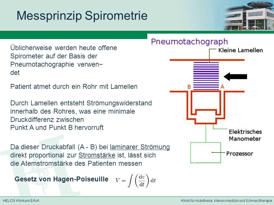 HELIOS Klinikum ErfurtKlinik für Anästhesie, Intensivmedizin und Schmerztherapie Messprinzip Spirometrie Üblicherweise werden heute offene Spirometer