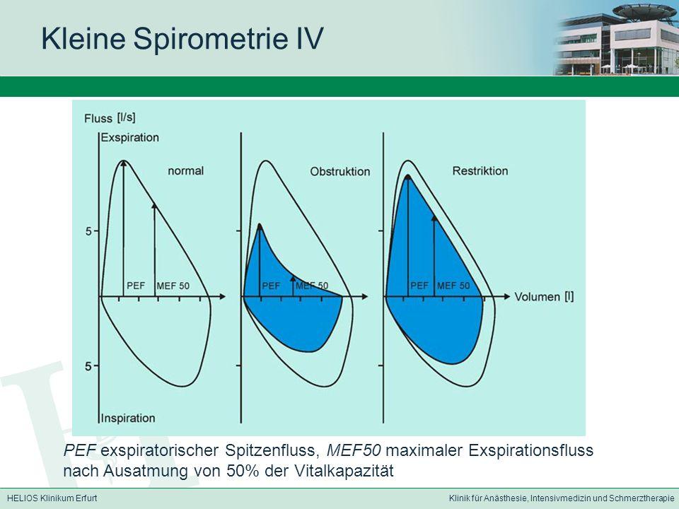 HELIOS Klinikum ErfurtKlinik für Anästhesie, Intensivmedizin und Schmerztherapie Kleine Spirometrie IV PEF exspiratorischer Spitzenfluss, MEF50 maxima