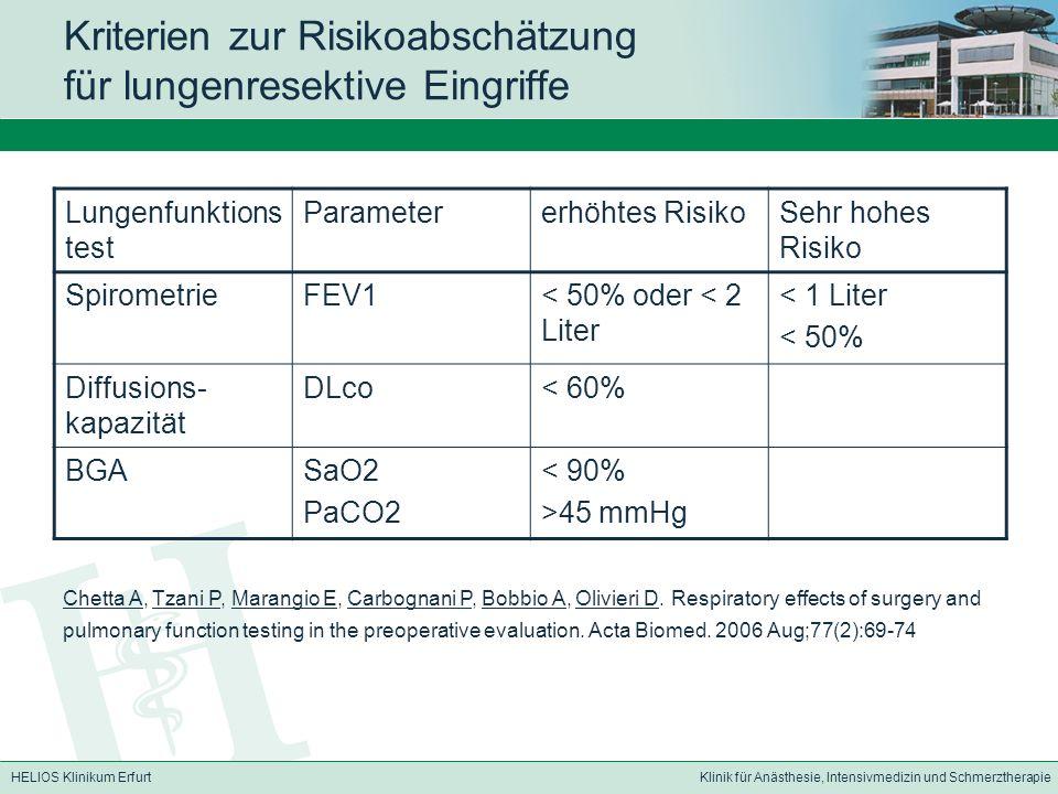 HELIOS Klinikum ErfurtKlinik für Anästhesie, Intensivmedizin und Schmerztherapie Kriterien zur Risikoabschätzung für lungenresektive Eingriffe Lungenf