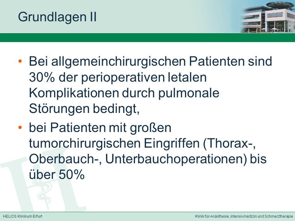 HELIOS Klinikum ErfurtKlinik für Anästhesie, Intensivmedizin und Schmerztherapie Grundlagen II Bei allgemeinchirurgischen Patienten sind 30% der perio