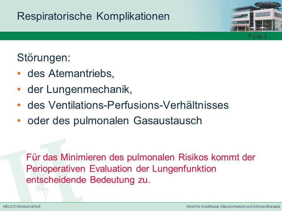HELIOS Klinikum ErfurtKlinik für Anästhesie, Intensivmedizin und Schmerztherapie Respiratorische Komplikationen Störungen: des Atemantriebs, der Lunge