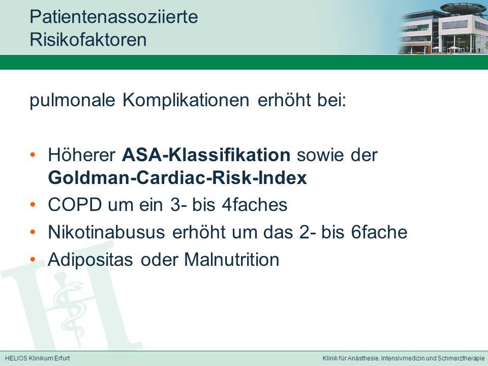 HELIOS Klinikum ErfurtKlinik für Anästhesie, Intensivmedizin und Schmerztherapie Patientenassoziierte Risikofaktoren pulmonale Komplikationen erhöht b