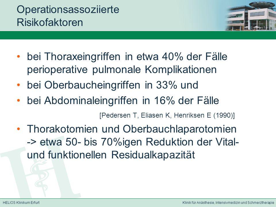 HELIOS Klinikum ErfurtKlinik für Anästhesie, Intensivmedizin und Schmerztherapie Operationsassoziierte Risikofaktoren bei Thoraxeingriffen in etwa 40%