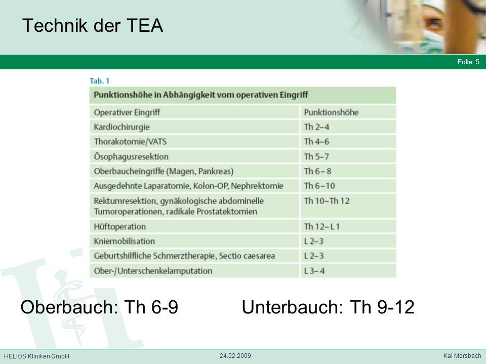 Folie: 5 HELIOS Kliniken GmbH Technik der TEA Folie: 5 24.02.2009 Kai Morsbach HELIOS Kliniken GmbH Oberbauch: Th 6-9 Unterbauch: Th 9-12