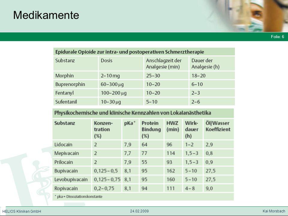 Folie: 6 HELIOS Kliniken GmbH Medikamente Folie: 6 24.02.2009 Kai Morsbach HELIOS Kliniken GmbH