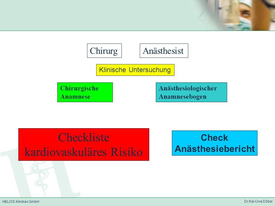 HELIOS Kliniken GmbH Dr.Kai-Uwe Döbel Checkliste kardiovaskuläres Risiko Chirurgische Anamnese Anästhesiologischer Anamnesebogen ChirurgAnästhesist Kl