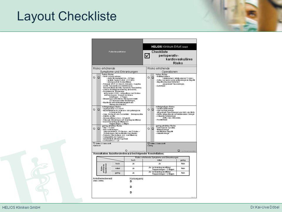 HELIOS Kliniken GmbH Dr.Kai-Uwe Döbel Layout Checkliste